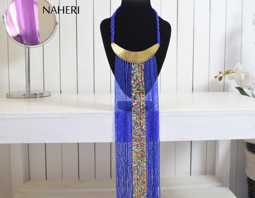 African handmade fringe necklace royal blue color with brass tribal jewelry
