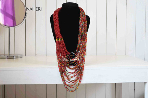 African beaded deep red statement necklace African tribal jewelry
