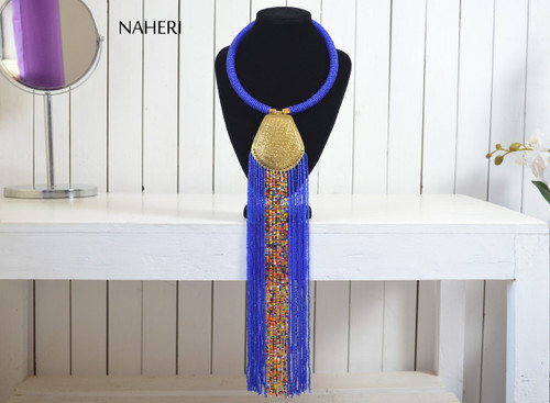 African tribal beaded royal blue fringe necklace with brass jewelry