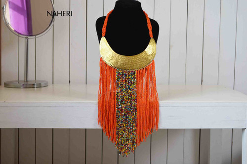 African beaded tribal orange fringe necklace with brass