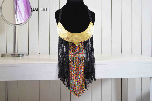 African jewelry tribal neck piece black fringe necklace with brass