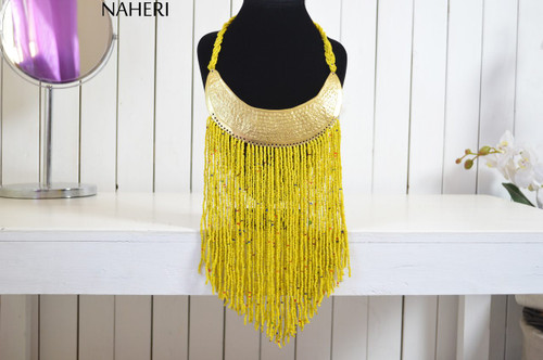 African beaded yellow necklace tribal neck fringe neck piece with brass