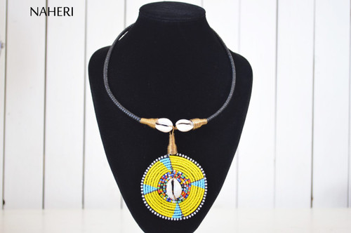 African maasai beaded cowrie shell pendant necklace  tribal jewelry