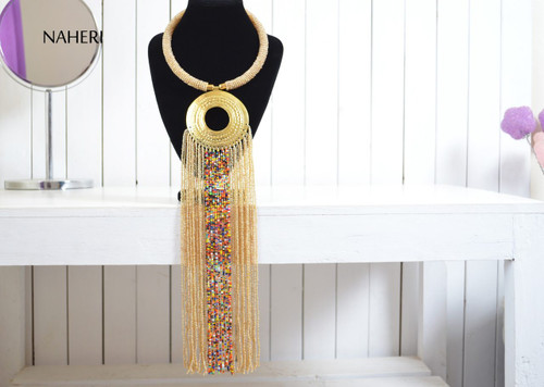 African beaded necklace beige fringe neck piece with brass ring
