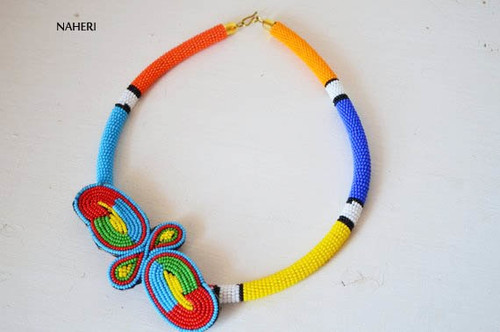 African inspired necklace maasai zulu beaded neck piece tribal