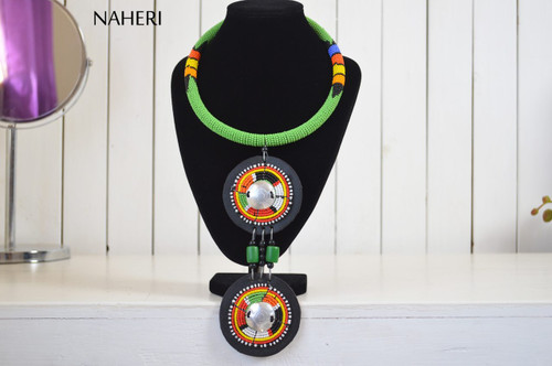 Tribal African necklace maasai zulu beaded jewelry green pendant jewellery