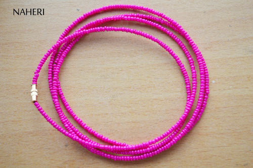 African waist beads hot pink plain beaded jewelry