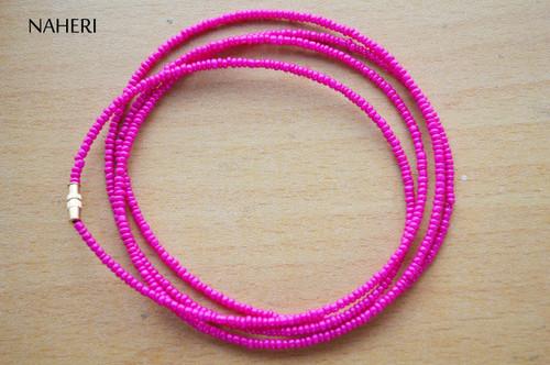 African waist beads hot pink plain beaded jewelry