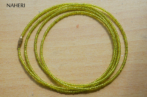 African waist beads shinny mint color beaded jewelry