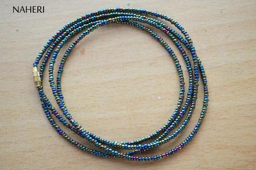 African waist beads chameleon green beaded jewelry