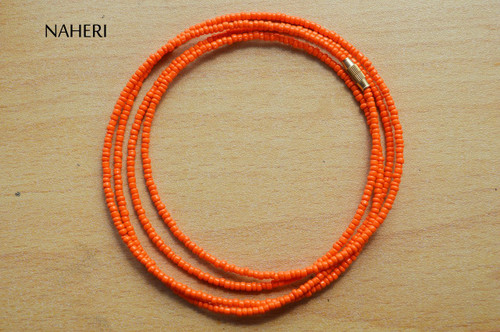 African inspired waist beads orange plain color beaded jewelry