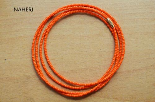 African inspired waist beads orange plain color beaded jewelry