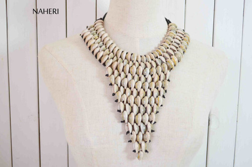 African inspired cowrie sea shells necklace statement jewelry