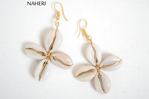 African cowrie shells earrings cross shaped