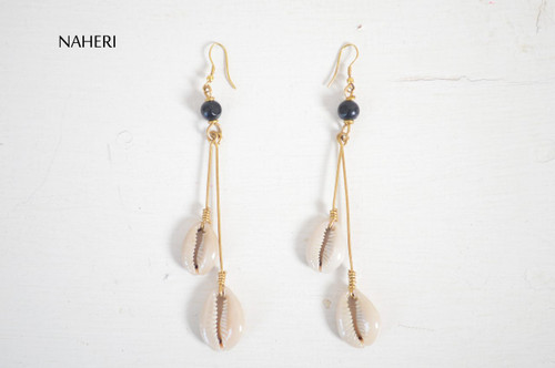 Handmade African cowrie sea shells earrings statement jewelry