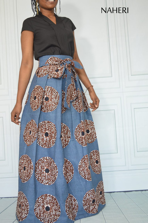 African print maxi skirt pleated record print long ankara skirt