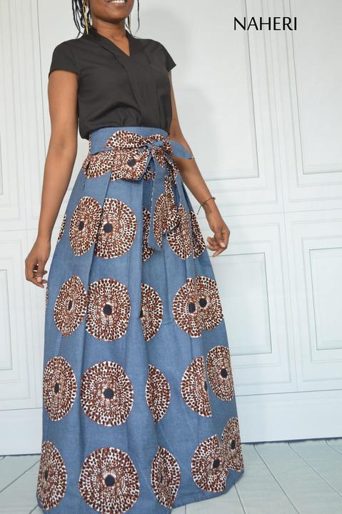 African print maxi skirt pleated record print long ankara skirt