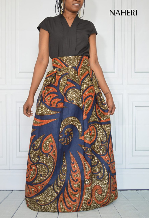 African print maxi skirt - ADILI pleated ankara skirt