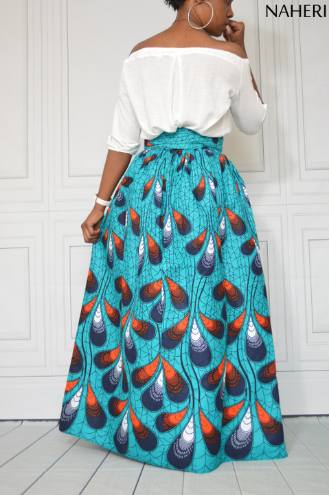 African print maxi skirt - PENZI blue ankara skirt with sash