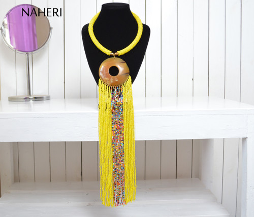 African necklace beaded yellow fringe necklace with horn