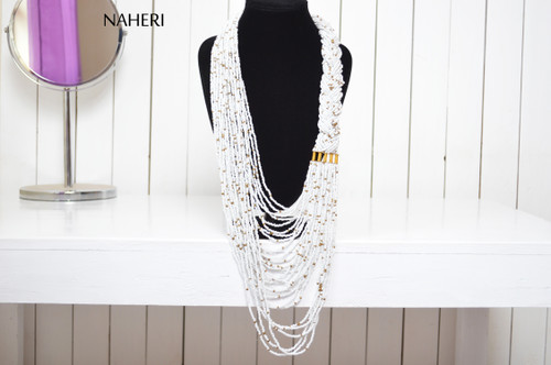 Beaded necklace African inspired white chunky neck piece