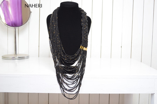 Beaded necklace African inspired black chunky neck piece