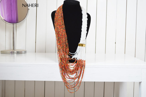 African tribal necklace African inspired statement neck piece white with mixed beads