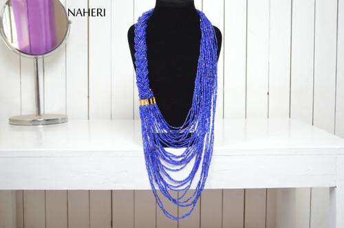 African maasai beaded blue necklace tribal neck piece