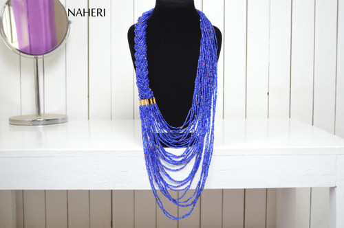 African maasai beaded blue necklace tribal neck piece