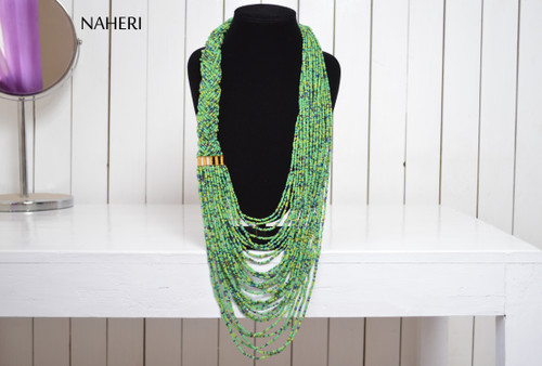 African maasai beaded green necklace tribal neck piece