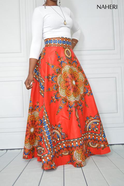 African print maxi skirt MEL red sunburst half circle maxi skirt