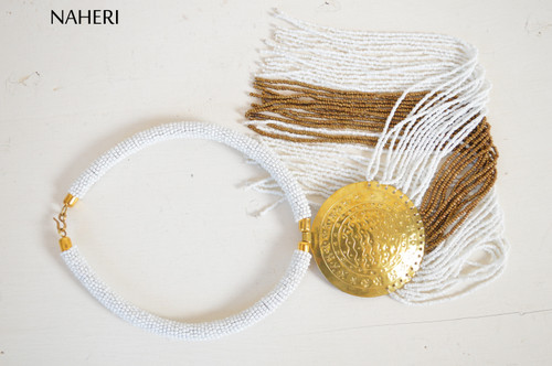 African beaded white fringe necklace with brass