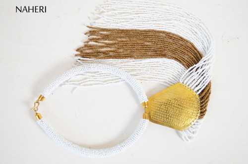 African beaded fringe necklace with brass tribal jewelry