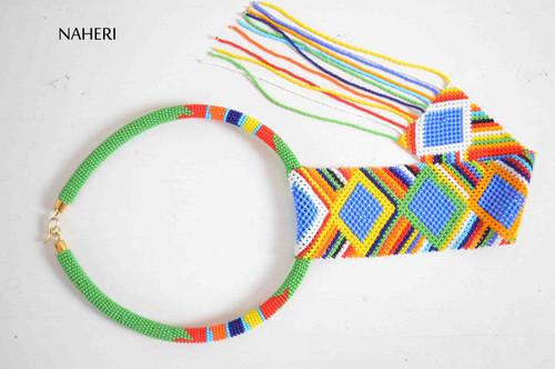 African zulu necklace maasai beaded fringe statement jewelry