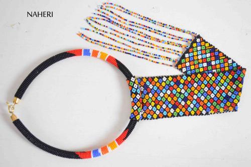 African zulu beaded necklace fringe statement jewelry