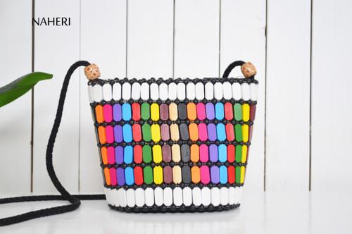 African inspired wooden beads handbag