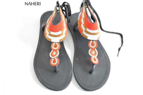 African beaded sandals handmade summer sandals  - ZUBERI