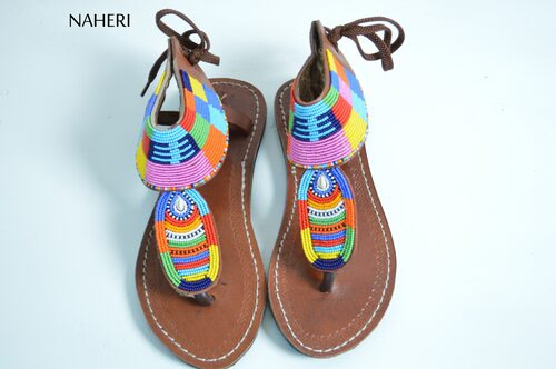 Summer beaded sandals African handmade beaded sandals naheri