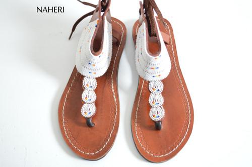 Beaded African sandals handmade tribal shoes summer sandals naheri
