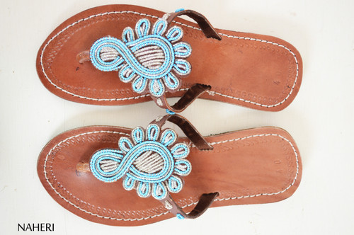 Maasai beaded African sandals handmade leather slip ons - LIZA