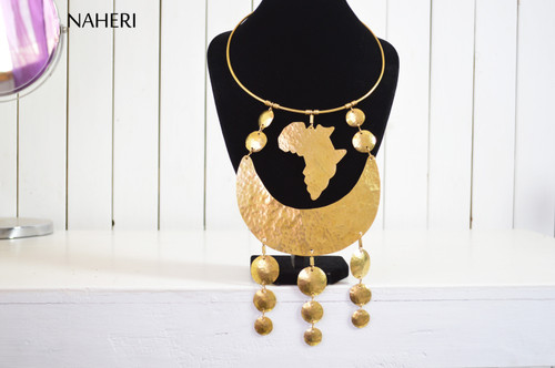 African map brass metal necklace jewelry tribal statement neck piece