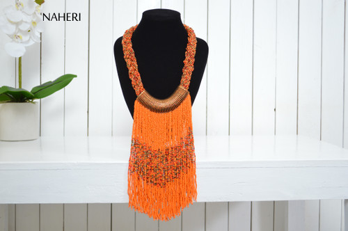 African inspired beaded necklace orange jewelry