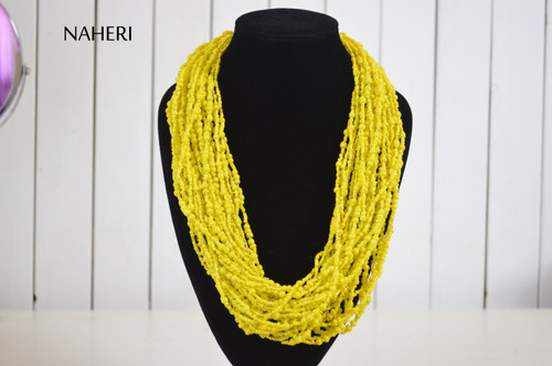 African beaded yellow necklace chunky designer neck piece
