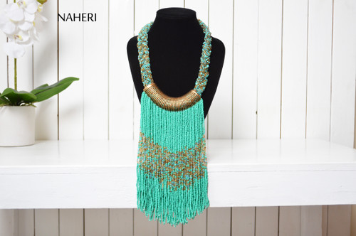 African inspired beaded necklace green tribal jewelry