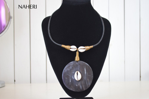 African tribal pendant necklace horn and cowrie jewelry