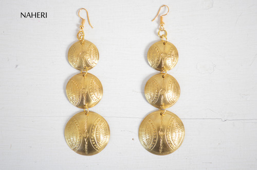 African engraved earrings handmade brass metal jewelry