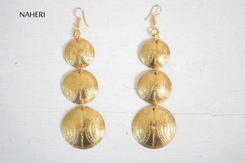 African brass metal earrings handmade jewelry naheri