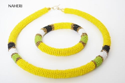 African beaded necklace tribal yellow jewelry with bracelet
