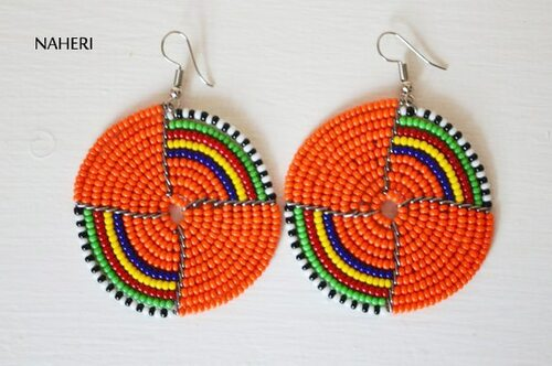 Orange maasai beaded earrings round African jewelry naheri