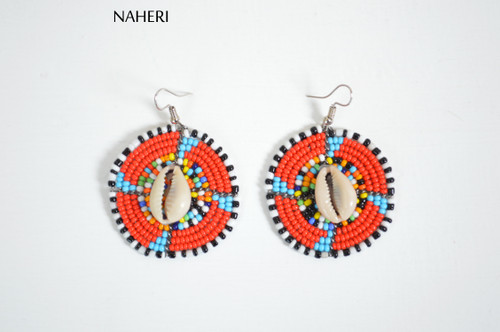 African zulu maasai earrings with cowrie shell African jewelry